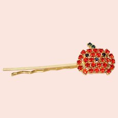 Vintage Orange and Black Rhinestone Halloween Pumpkin Hair Bobby Pin