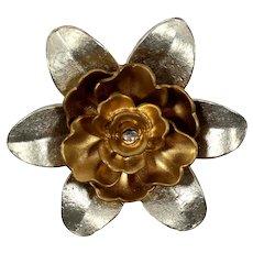 Vintage Huge Matte Gold and Silver Tone Rhinestone Dimensional Flower Brooch