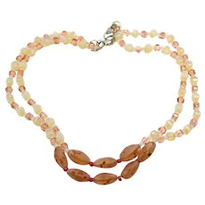 Vintage Peach and Mauve Art Glass and Crystal Bead Double Stranded Necklace