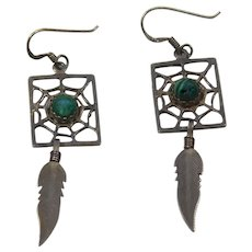 Vintage Native American Sterling Silver Dream Catcher Feather Dangle Earrings Malachite Cabochons
