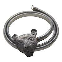 Vintage Lioness Head Silver Tone Buckle Snake Stretch Belt