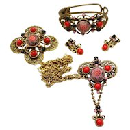 Vintage Juliana (D and E) Book Piece Red and Pink Moroccan Matrix Pin / Pendant Necklace, Brooch, Earrings and Clamper Bracelet Grand Parure