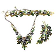 Vintage Juliana (D and E) Book Piece Olivine Green Rhinestone and Scooped Hematite Necklace, Bracelet and Brooch Parure