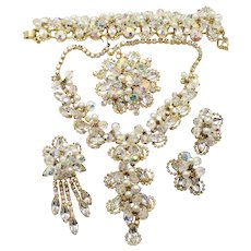 Vintage Juliana Clear Rhinestone, Faux Pearl and Crystal Bead Necklace, Bracelet, Brooch  Pin / Pendant and Earrings Grand Parure