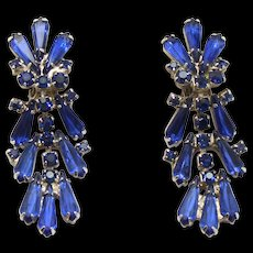 Vintage Juliana Book Piece Blue Spear Pentagon Shaped Rhinestone Dangle Earrings