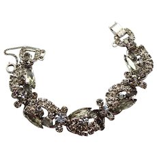 Vintage Juliana Gray Navette Rhinestone Ribbon Bracelet