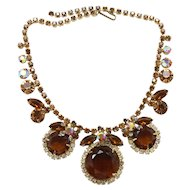 Vintage Juliana (D&E) Book Piece Topaz Dentelle Rhinestone Necklace
