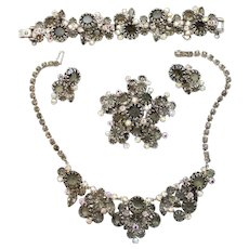 Vintage Juliana Black Diamond (Gray) Rhinestone Multi-Prong Necklace, Bracelet, Brooch and Earrings Grand Parure