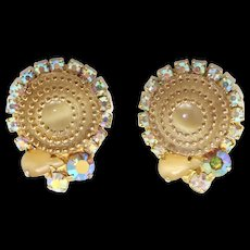 Vintage Juliana Book Piece Beige Gold Rhinestone Birthday Cake Earrings