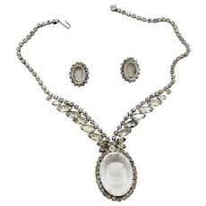 Vintage Juliana Clear and AB Rhinestone Intaglio Cameo Necklace and Earrings Demi Parure