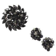 Vintage Juliana Black Bead Black Blue AB Rhinestone Brooch Earrings Demi Parure