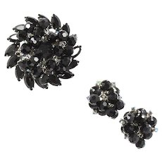 Vintage Juliana Black Bead Black Blue AB Rhinestone Brooch Earrings Demi Parure