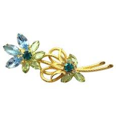 Vintage Juliana (D&E) Blue & Peridot Green Rhinestone Venus Flames Flower Brooch