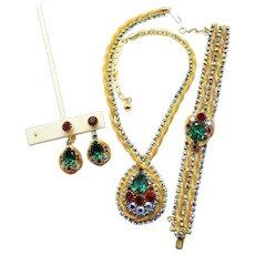 Vintage Juliana Book Piece Green Red  AB rhinestone Mesh Necklace Bracelet Dangle Earrings Parure