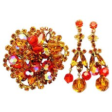 Vintage Juliana (D and E) Book Piece Orange and Topaz Rhinestone and Crystal Bead Brooch and Earrings Parure