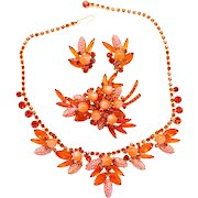 "Vintage Juliana (D and E) Book Piece Orange ""Corn Kernel"" Rhinestone Parure Necklace, Brooch and Earrings"