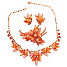 "Vintage Juliana (D and E) Book Piece Orange ""Corn Kernel"" Rhinestone Parure Necklace, Brooch and Earrings"