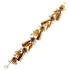 Vintage Juliana Book Piece Topaz Keystone Tapered Baguette Rhinestone Bracelet