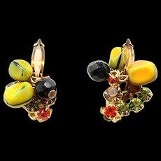 Vintage Juliana Book Piece Carmen Miranda Nugget Bead Rhinestone Earrings