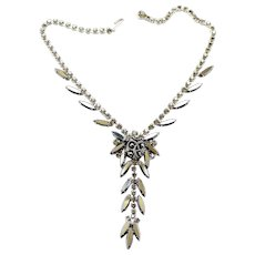 Vintage Juliana Molded Hematite Cabochon Rhinestone Necklace