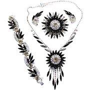 Vintage Juliana Book Piece Black AB Rhinestone Sunburst Necklace, Bracelet, Brooch Earrings Grand Parure