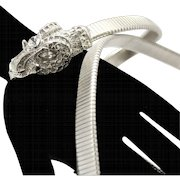 Vintage Juliana Book Piece Silver Toned Rhinestone Studded Rams Head Belt