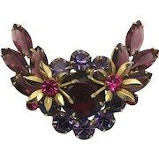 Vintage Juliana Book Piece Purple Amethyst Fuchsia Pink Rhinestone Metal Flower Brooch