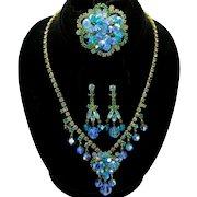 Vintage Juliana Book Piece Aqua Blue Teal Rhinestone Crystal Bead Necklace Brooch Dangle Earrings Parure