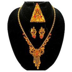 Vintage Juliana Book Piece Topaz and Orange (Sun) Flat Backed Rhinestone Necklace, Brooch earrings Parure