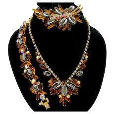 Vintage Juliana Book Piece Topaz Rhinestone Scooped Hematite Necklace Bracelet Brooch Parure