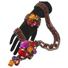 Vintage Juliana Book Piece Volcano Rivoli Red Purple Topaz Rhinestone Chain Belt or Necklace Bracelet Demi Parure
