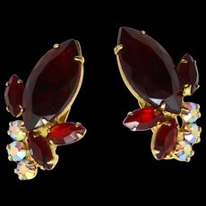 Vintage Juliana Red AB Navette Rhinestone Earrings