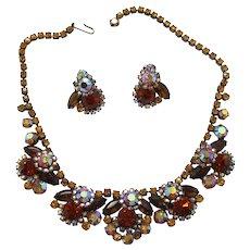Vintage Juliana Book Piece Topaz AB Rhinestone Necklace and Earrings Demi Parure