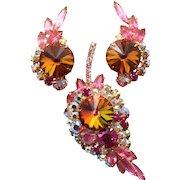 Vintage Juliana Book Piece Pink Rhinestone Volcano Rivoli Leaf Brooch Earrings Demi Parure
