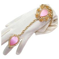 Vintage Juliana Thermo Plastic Pink Slave Bracelet Book Piece
