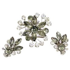 Vintage Gray and Clear Rhinestone Flower Brooch and Earrings Demi Parure