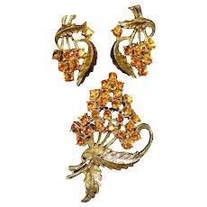 Vintage Coro Amber Topaz Rhinestone Floral Nosegay Brooch Earrings Demi Parure Book Piece