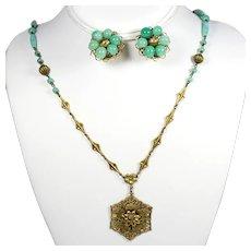 Vintage Art Deco Czech Green Peking Glass Ornate Brass Pendant Necklace Earrings Demi Parure