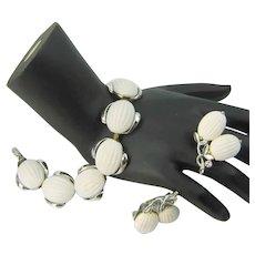 Vintage LISNER White Melon Cabochon Bracelet Earrings Demi Parure