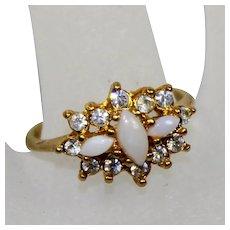 Vintage UNCAS Faux Opal Clear Rhinestone Ring Size 7