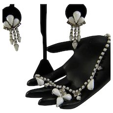 Vintage LISNER Necklace Dangle Earring Milkglass Pears Rhinestones Demi Parure