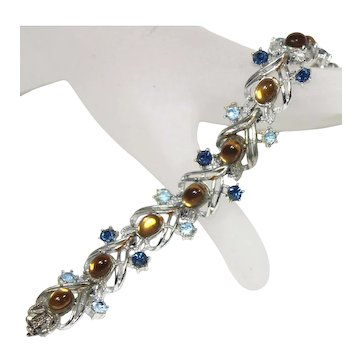 Vintage Coro Topaz Cabochon and Blue Rhinestone Silver Toned Bracelet