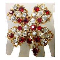 Vintage BSK Red Rhinestone 4 Leaf Clover Brooch