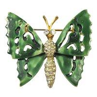 Vintage CAPRI Green Mottled Enamel Rhinestone BUTTERFLY Figural Brooch