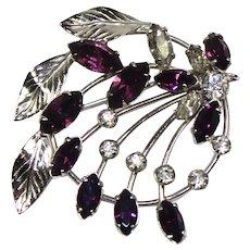 Vintage SPIFFARDI 12K GF Purple Amethyst Rhinestone Floral Spray Brooch