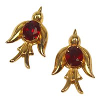 Vintage Coro Pegasus Pair of Red Rhinestone Swallow Bird Brooches Book Piece