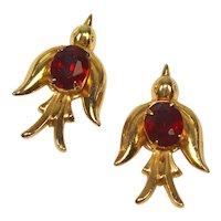 Vintage Coro Pegasus Pair of Red Rhinestone Swallow Bird Brooches Book Piece
