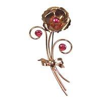Vintage 40's WILCOX Sterling Rose Gold Vermeil Pink Rhinestone Flower Bouquet Brooch