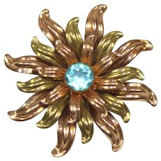Vintage VAN DELL 12K GF Pink Yellow Gold Aqua Rhinestone Flower Brooch Pendant