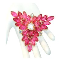 Vintage 3 Inch Raspberry Pink Navette Rhinestone AB Triangle Shaped Brooch